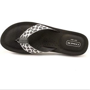 Coach Jessalyn Black Flip Flop Logo Slide